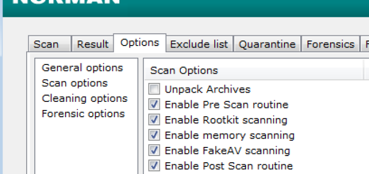 Norman Malware Cleaner: Scan Options