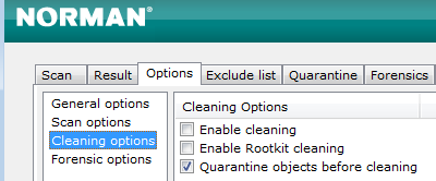 Norman Malware Cleaner: Cleaning Options