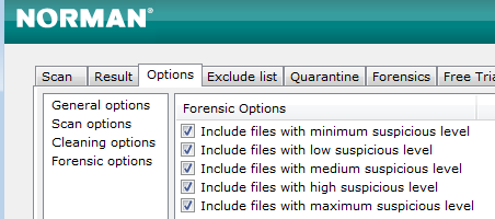 Norman Malware Cleaner: Forensic Options