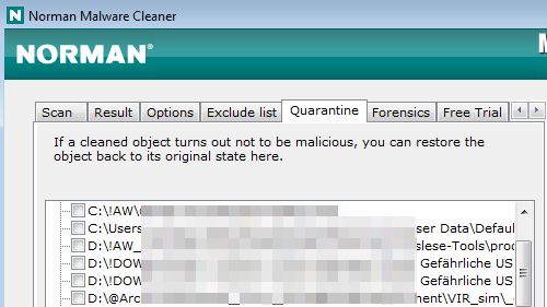 Norman Malware Cleaner: Quarantäne