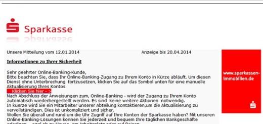 Phishing-Mail von sparkasse.de