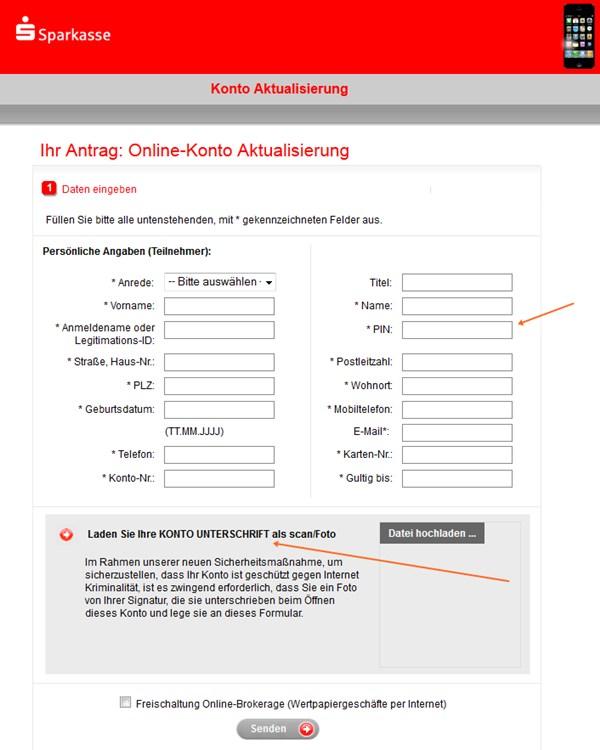 Sparkasse-Phising-Site will Scan Ihrer Unterschrift!