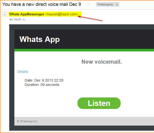 WhatsApp: Voice-Mail-Hinweis (Spam)