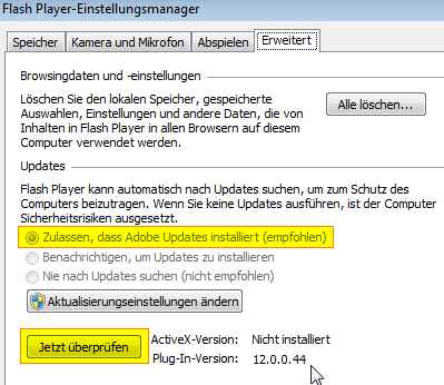 Adobe Flash Player 12 Einstellungen