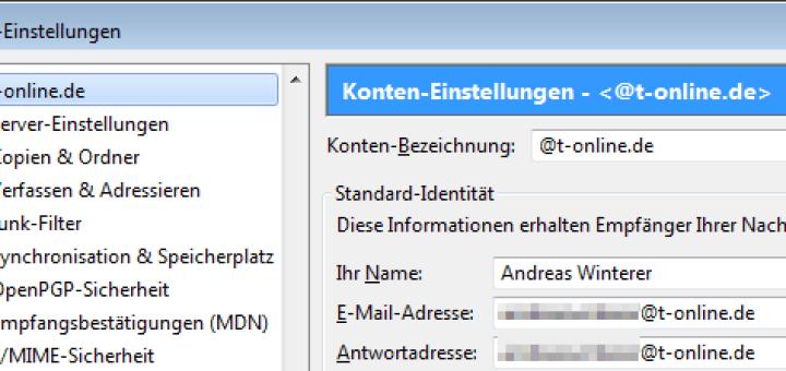 Thunderbird E-Mail-Einstellungen T-Online SSL