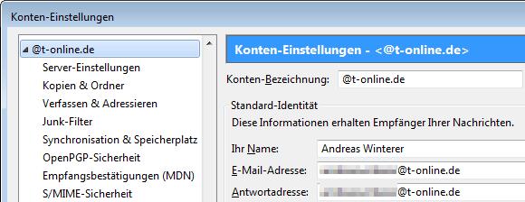 Thunderbird: E-Mail-Einstellungen für T-Online