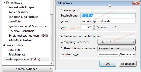 Thunderbird SMTP-Einstellungen T-Online mit StartTLS