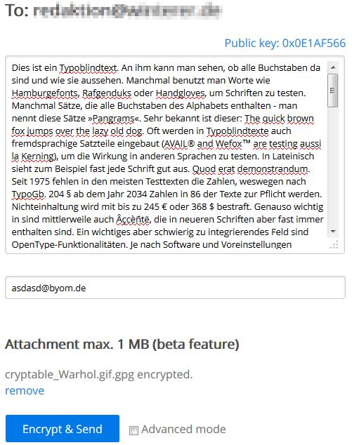 Mail eingeben bei encrypt.to