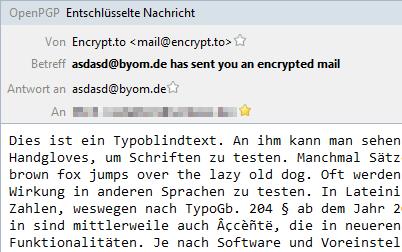 entschlüsselte, zuvor encrypt.to-verschlüsselte Mail