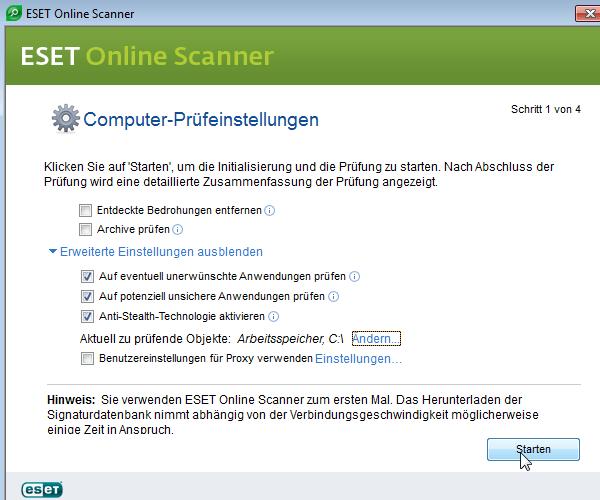 Eset Online Scanner: Einstellungen