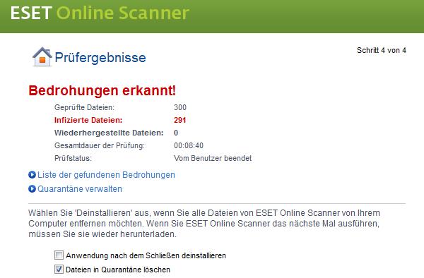Eset Online Scanner: Ergebnis