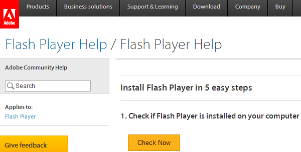 Adobe Flash Player Check