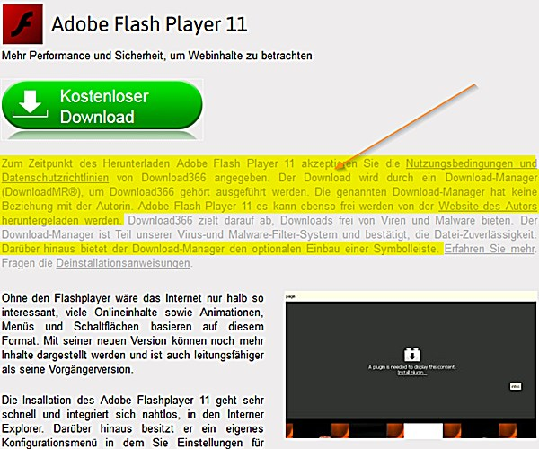 fragwürdiger Flash-Player-Download