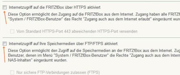 Fritz!Box: Freigaben abschalten