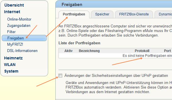 Fritz!Box: Port-Freigaben, UPnP