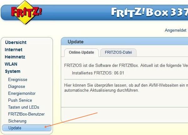 Fritz!Box: System, Update