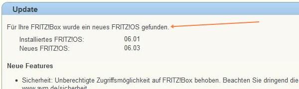 Fritz!Box Update: verfügbar