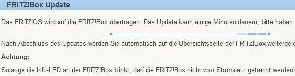 Fritz!Box Update läuft
