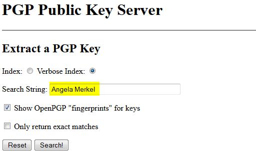 PGP-Key suchen auf pgpkey.org