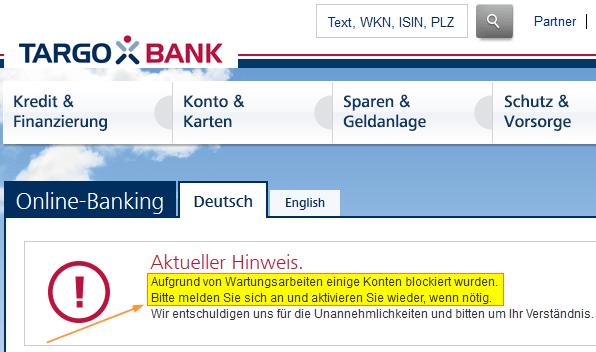gefälschte Targobank-Website