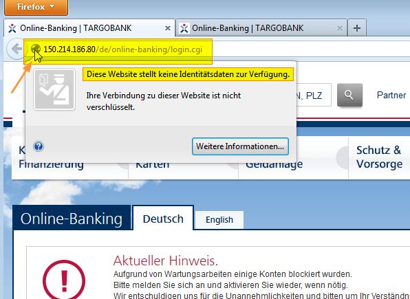 Falsche Website: keine Identitätsdaten