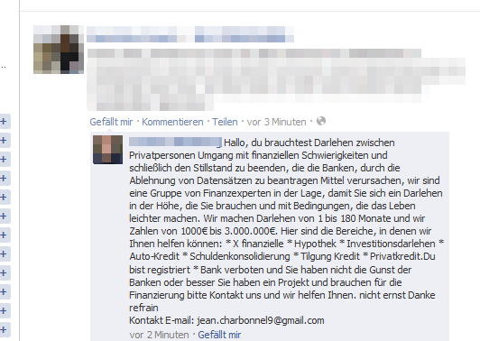 Facebook-Spam-Kommentar