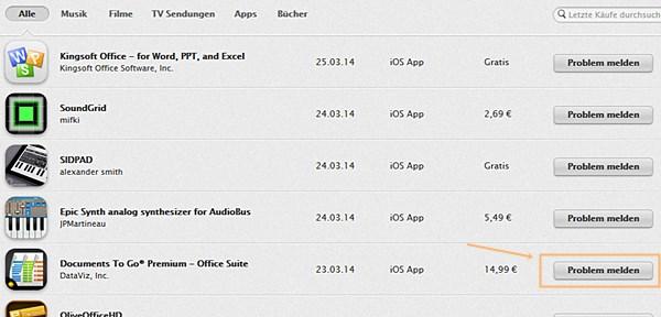 Apple iTunes: eine App zurückgeben