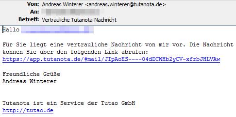 Tutanota Free: so sieht ein externe die 'verschlüsselte' Mail