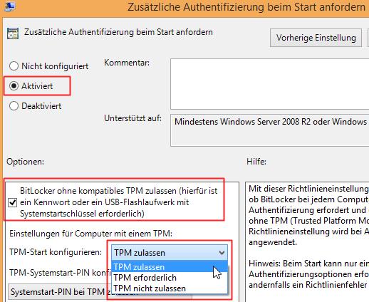 TPM-Start konfigurieren: TPM zulassen