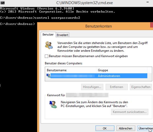 Windows 8.1 ohne Passwort starten