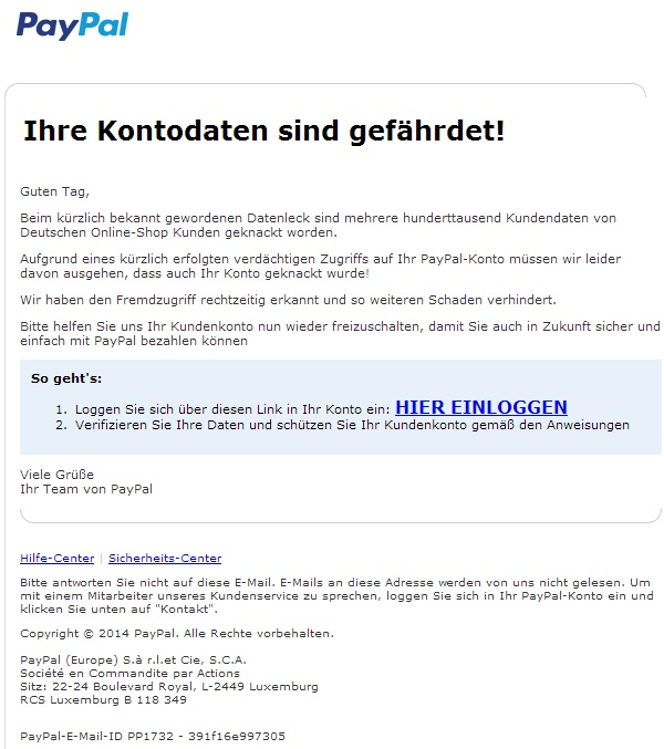 Fake-Mail von Fake-PayPal