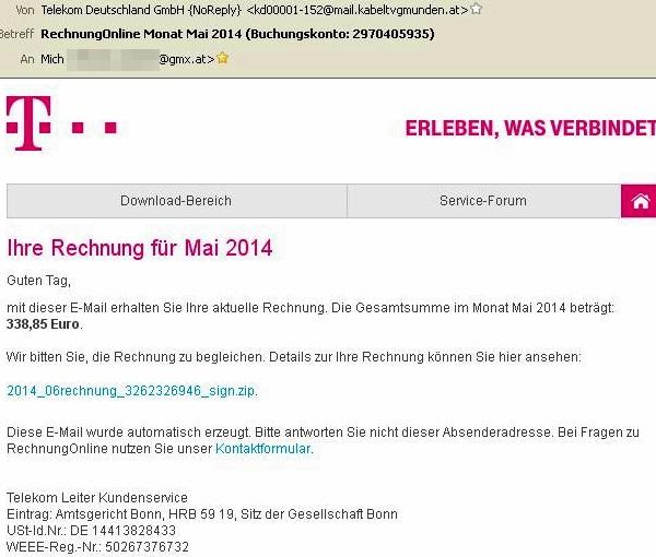 Telekom: Rechnung Online (Malware-Fake)