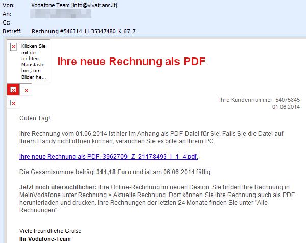 Vodaphone: 'Ihre neue Rechnung als PDF'