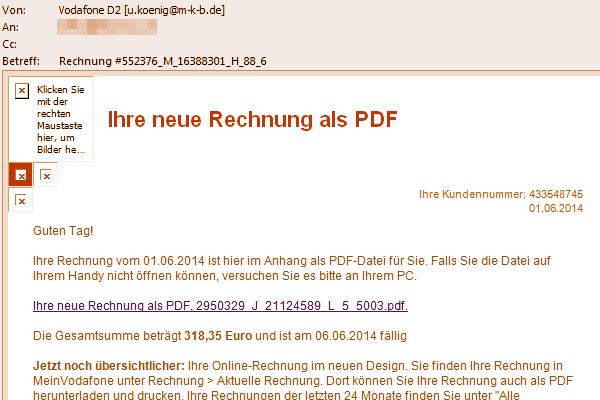Vodafone: 'Ihre neue Rechnung als PDF'
