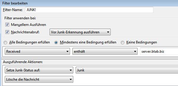 Thunderbird-Regel: Filter bearbeiten