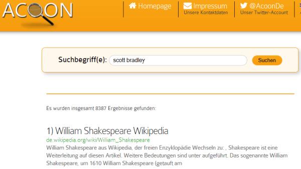 Sichere Suchmaschine aus Deutschland: Acoon