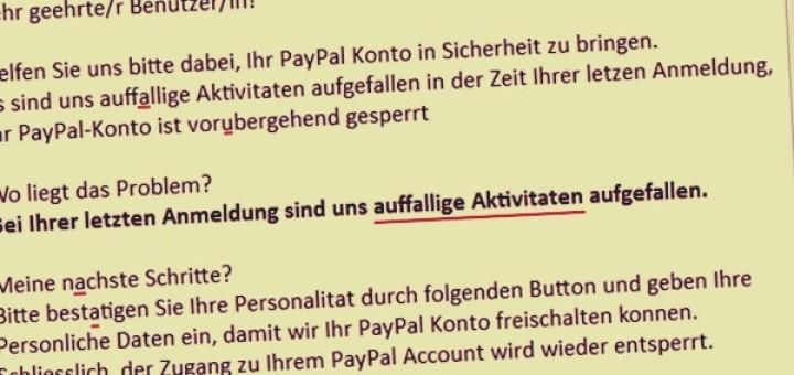 Das Problem: Paypal Sperrung Uberprufung