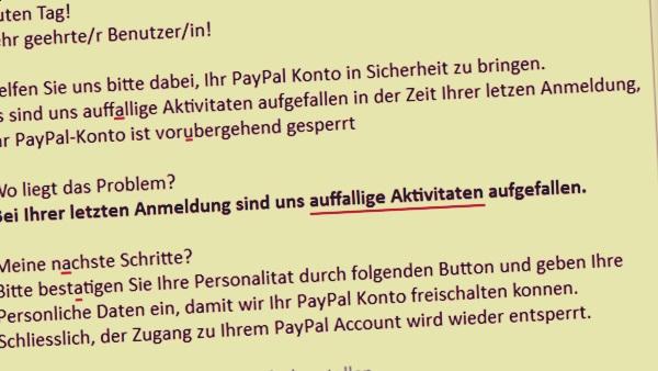Paypal konto vorubergehend gesperrt
