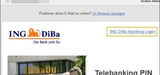 ING DiBa - Telebanking PIN Aktualisierung (Phishing-Mail)