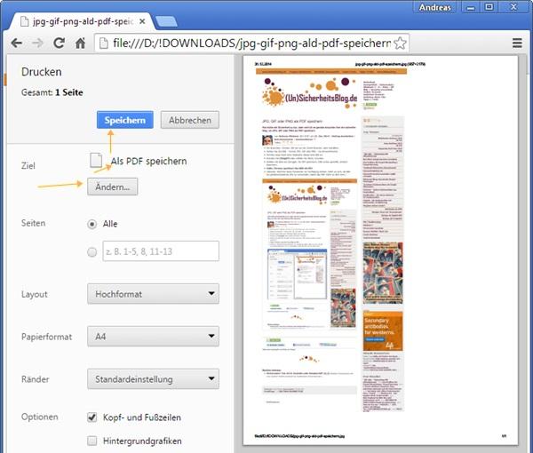 JPG, GIF oder PNG als PDF speichern
