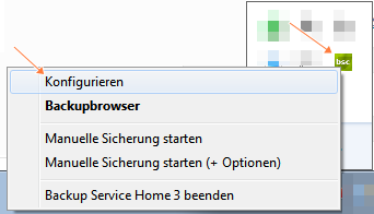Backup Service Home konfigurieren