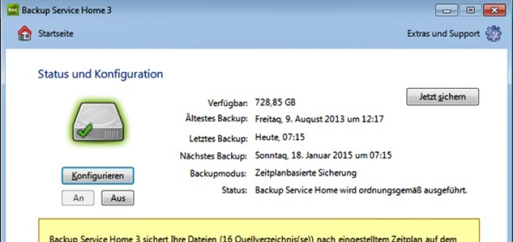 Backup Service Home