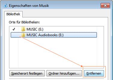 Windows-7-Bibliothek: Ordner entfernen