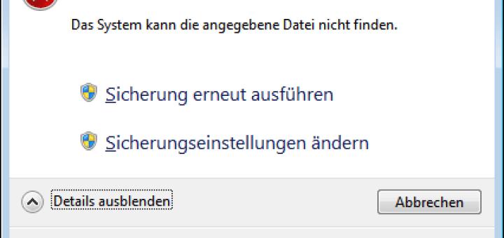 Windows-7-Datensicherung: Fehlercode 0x80070002