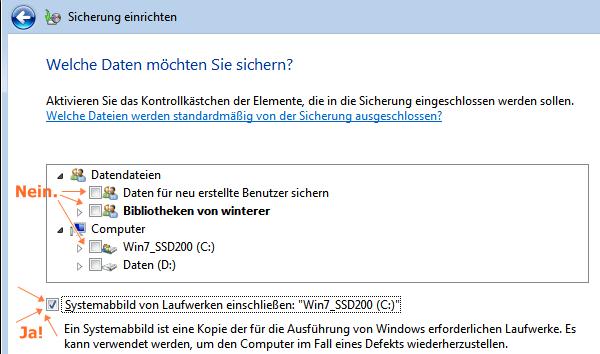 Windows-Sicherung einrichten: nur Systemabbild sichern
