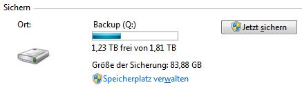 Windows-Sicherung: Jetzt sichern