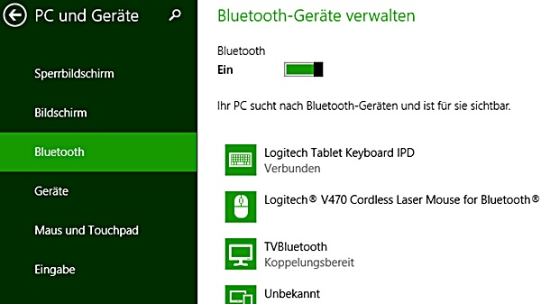 Bluetooth-Maus und Tastatur am Tablet