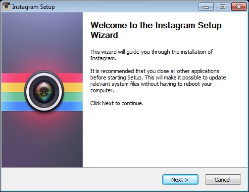 Instagram for PC: das Setup sieht noch harmlos aus