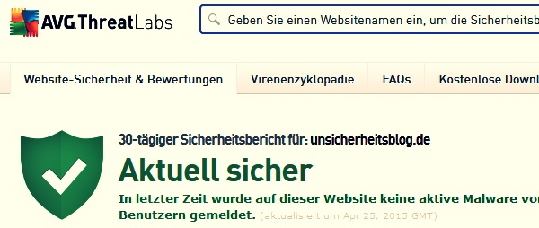 Website-Check auf Malware mit AVG