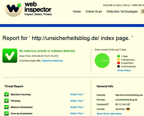 Website Check Malware: Web inspector